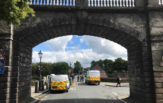 Old Dee Bridge was cordoned off after the incident on Thursday.