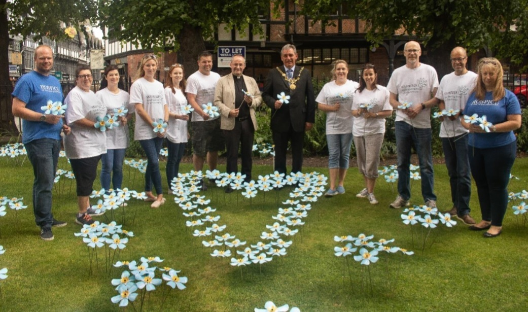 Beautiful display of Forget Me Not handcrafted flowers appear at Chester Cathedral