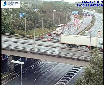 Image from Highways England showing standstill traffic on M6