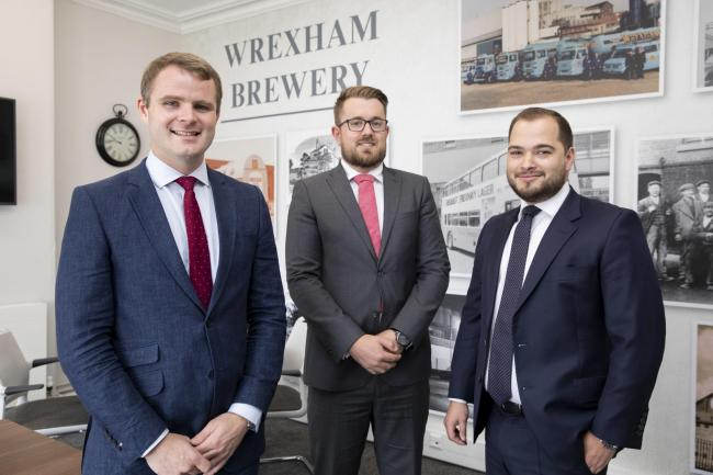 Hadlow Edwards, Wrexham, appointment of three new directors; Pictured Gwyn Edwards, Tom Hadlow and  Ben Gittins.                Picture Mandy Jones