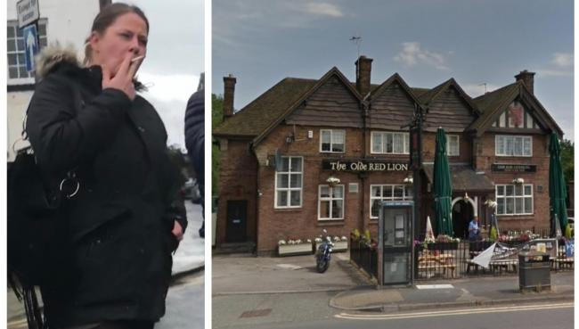 Left: Laura Thurston after leaving court on Friday. Right: The Olde Red Lion Pub in Little Sutton.