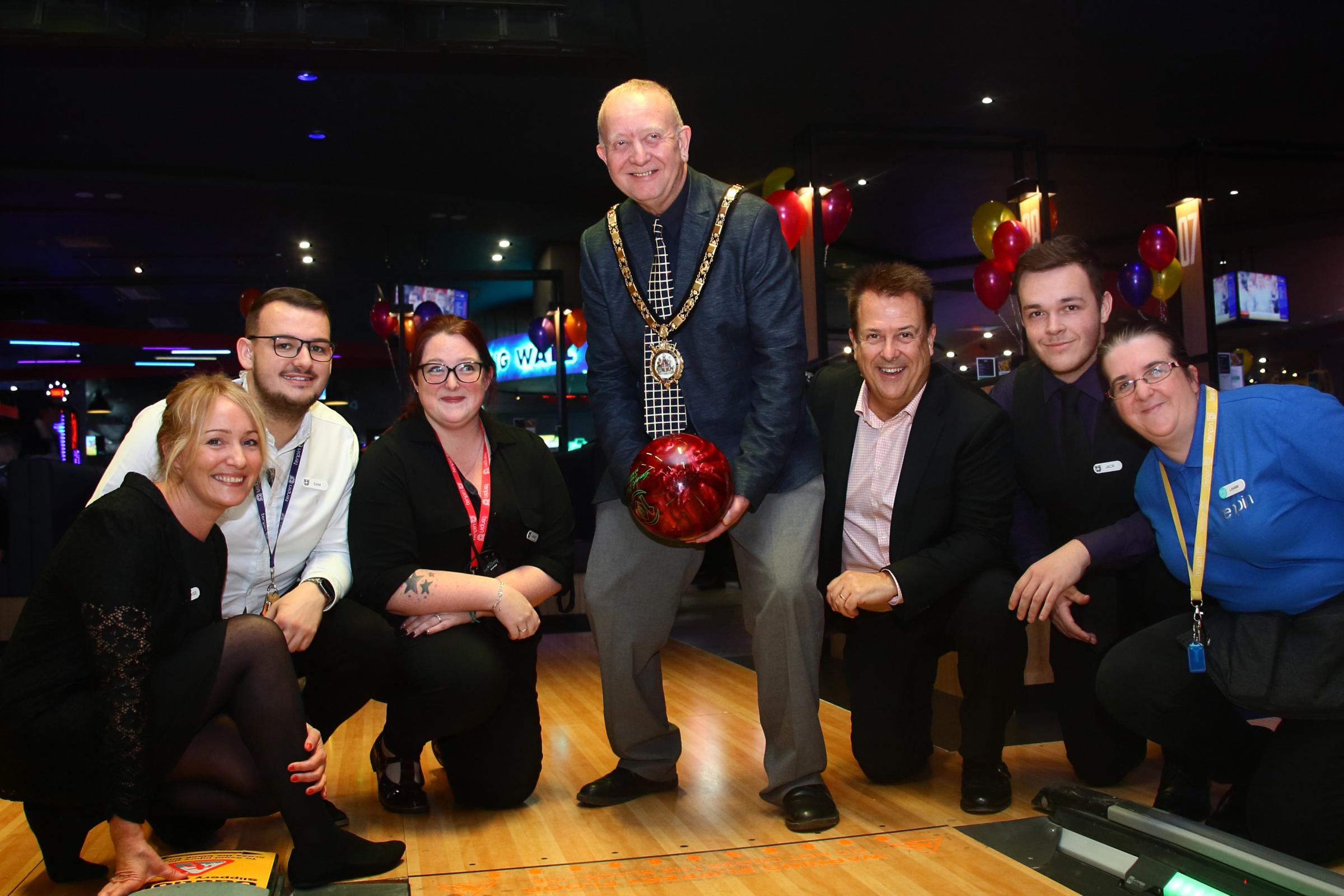 Ellesmere Port Mayor has a bowl as relaunched Tenpin Cheshire Oaks officially opened