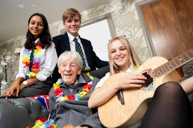 Resident Harry Dyson with King's School Chester sixth form students Mansi Gupta, Luke Mulholland and Megan Basford.