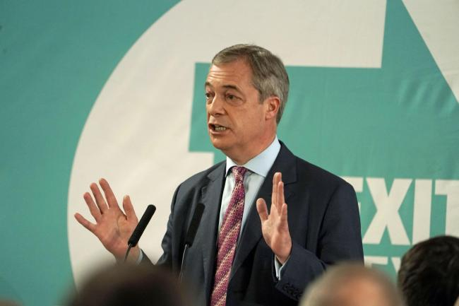 Brexit Party leader Nigel Farage speaking at the Best Western Grand Hotel in Hartlepool. Image: Owen Humphreys/PA Wire