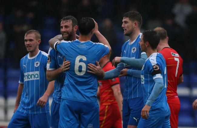 The Chester players celebrate in their 3-0 home victory against Alfreton Town. Picture: RICK MATTHEWS