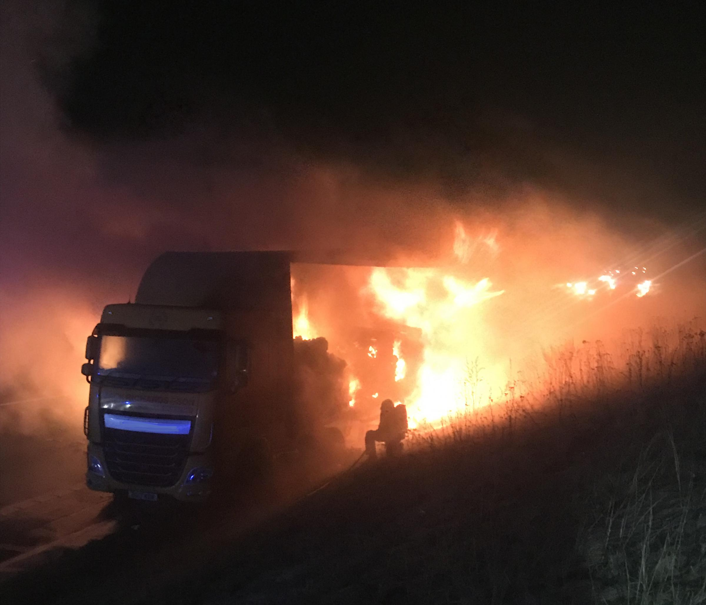 Lorry load of chocolate bursts into flames near M56