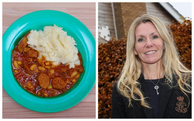 Left: South African vegan casserole on the menu. Right: Nursery owner Claire Taylor.