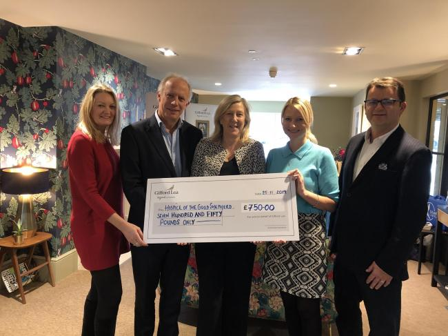 Lisa Fearn, Gifford Lea community liaison manager; Inspired Villages director James Cobb; Caroline Siddall, hospice director of income generation; Jessica Bennett, village manager at Gifford Lea and Tom Lord, operations director of Inspired Villages.