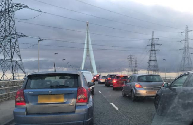 Traffic on the A548 Flintshire suspension bridge