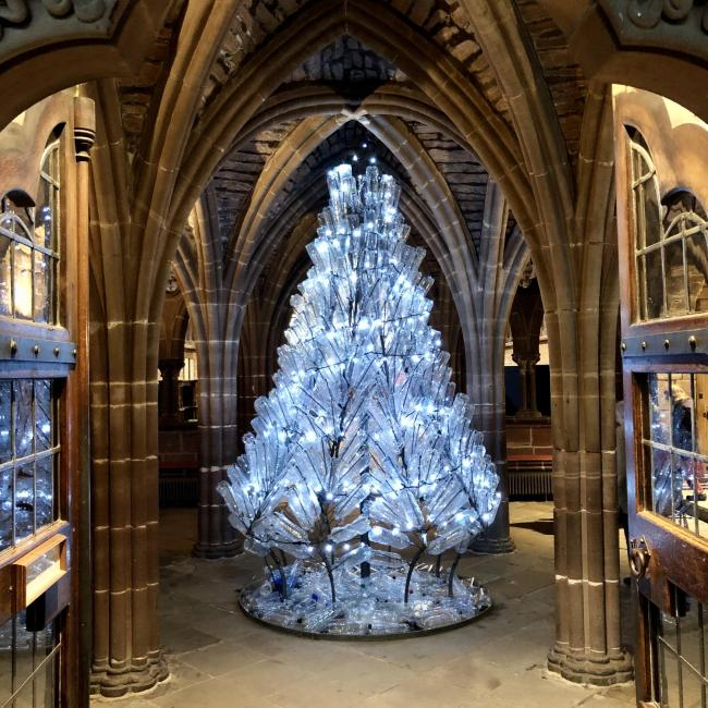 The Christmas tree at Chester Cathedral.