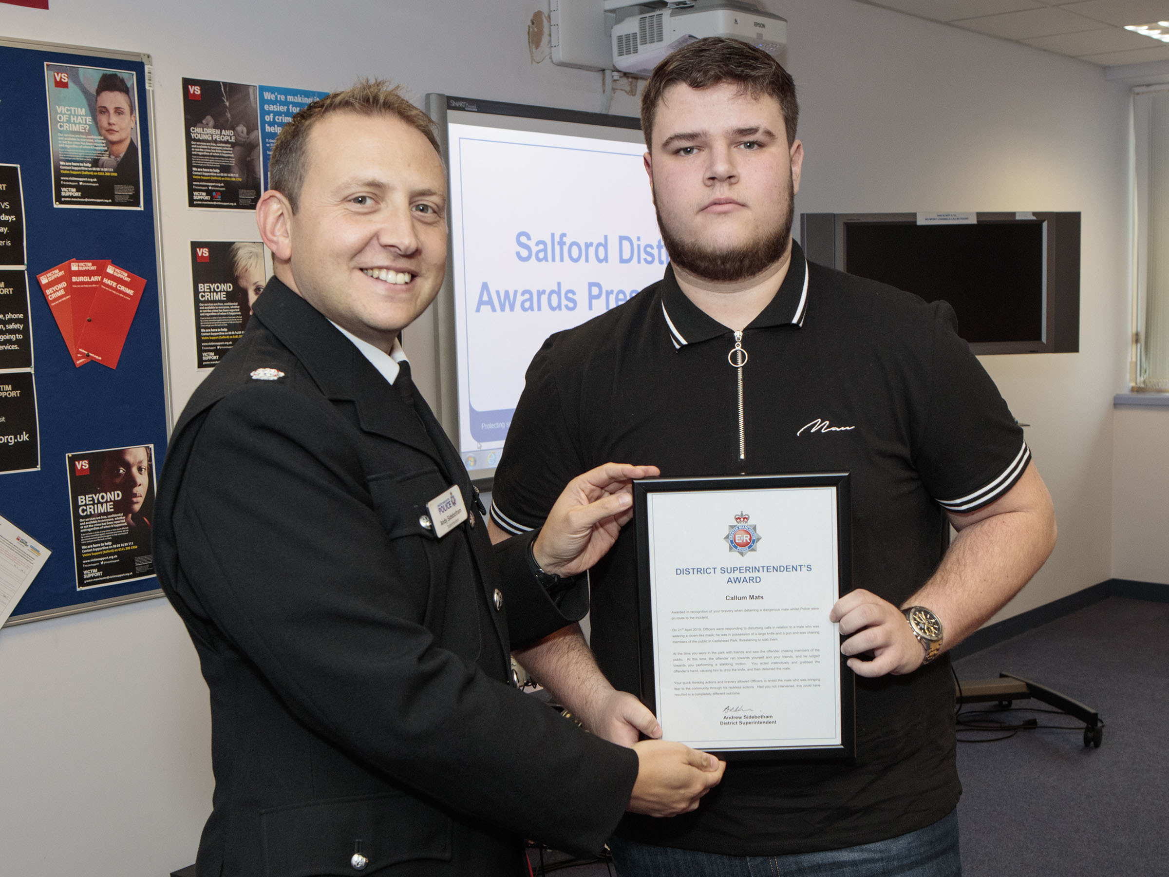 Heroic University of Chester teenager who tackled knife-wielding, gun-carrying man with clown mask is honoured by police