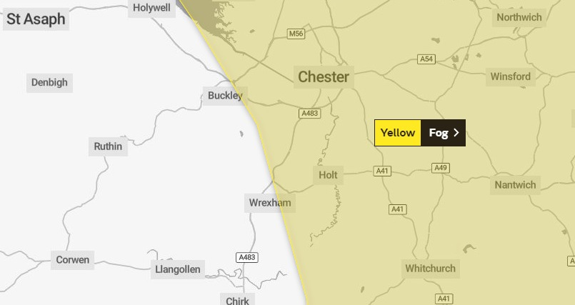 Further fog warning across parts of North Wales and Chester