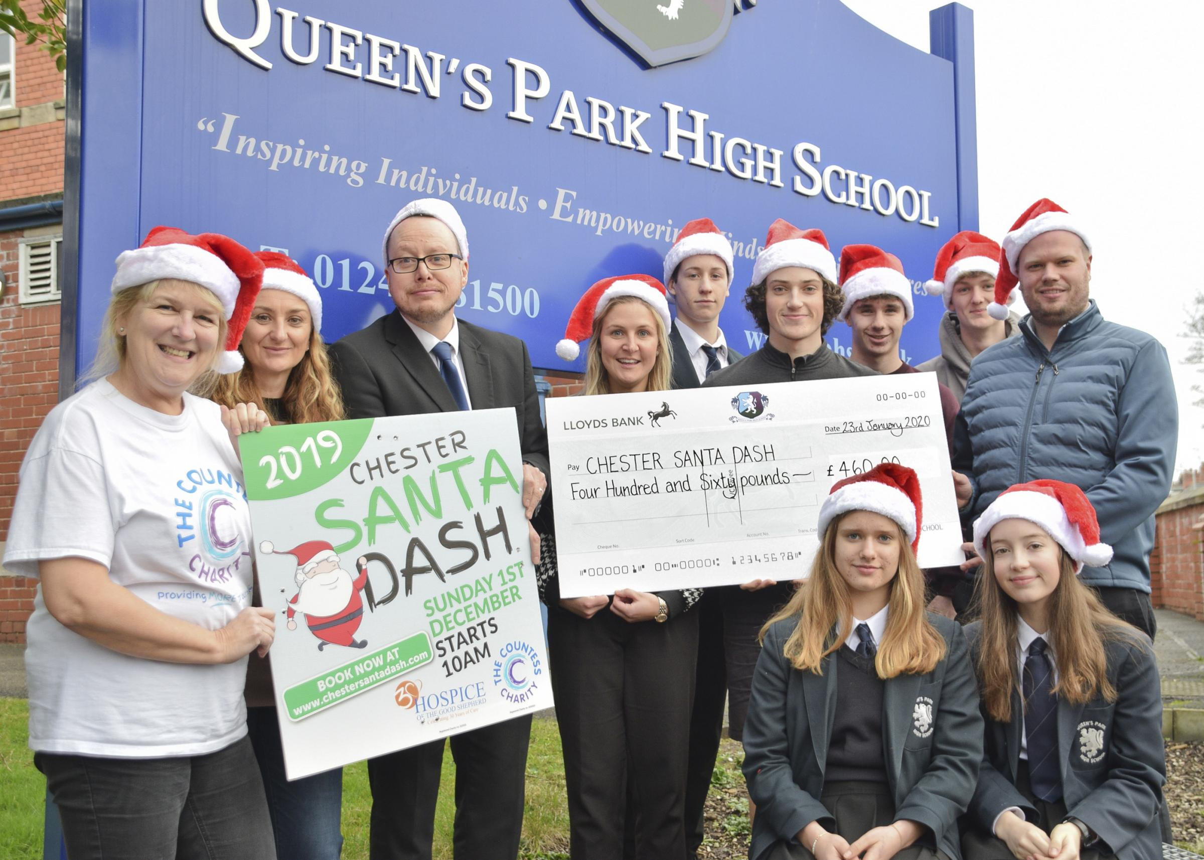 Chester school's support for city Santa Dash raises hundreds of pounds for two local charities