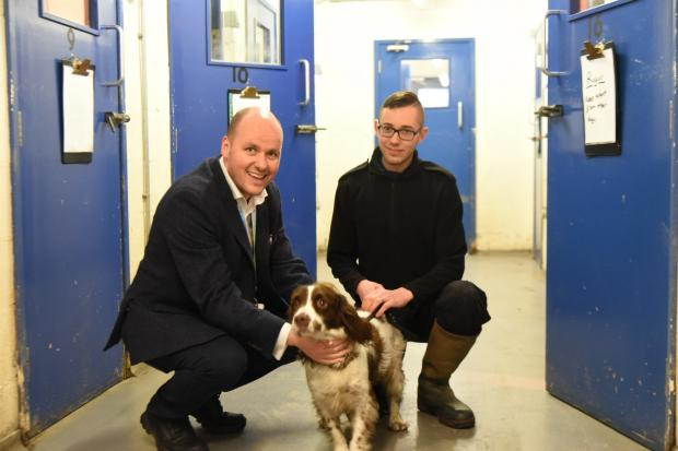 Cheshire Police and Crime Commissioner David Keane (left) with police dog Rufus.