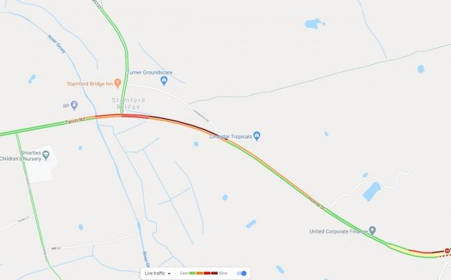 Traffic is building on the A51. Picture: Google.