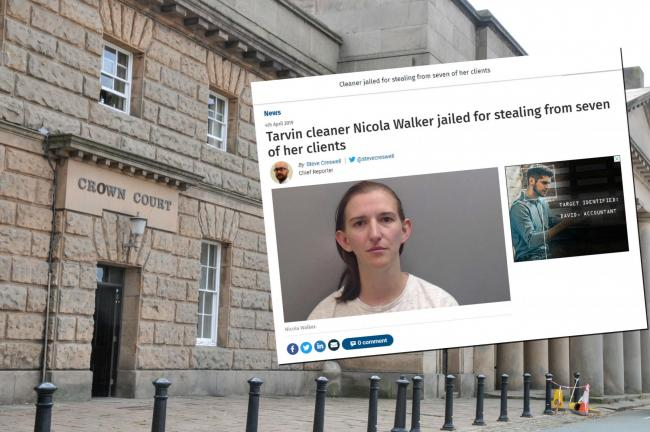 Nicola Walker has been jailed for a further 12 months after press coverage of her thefts (inset) led six more victims to come forward.