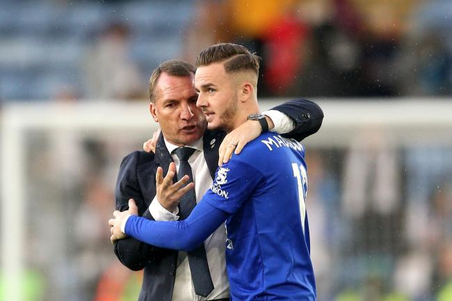 Brendan Rodgers, left, is hopeful James Maddison will soon sign a new deal with Leicester