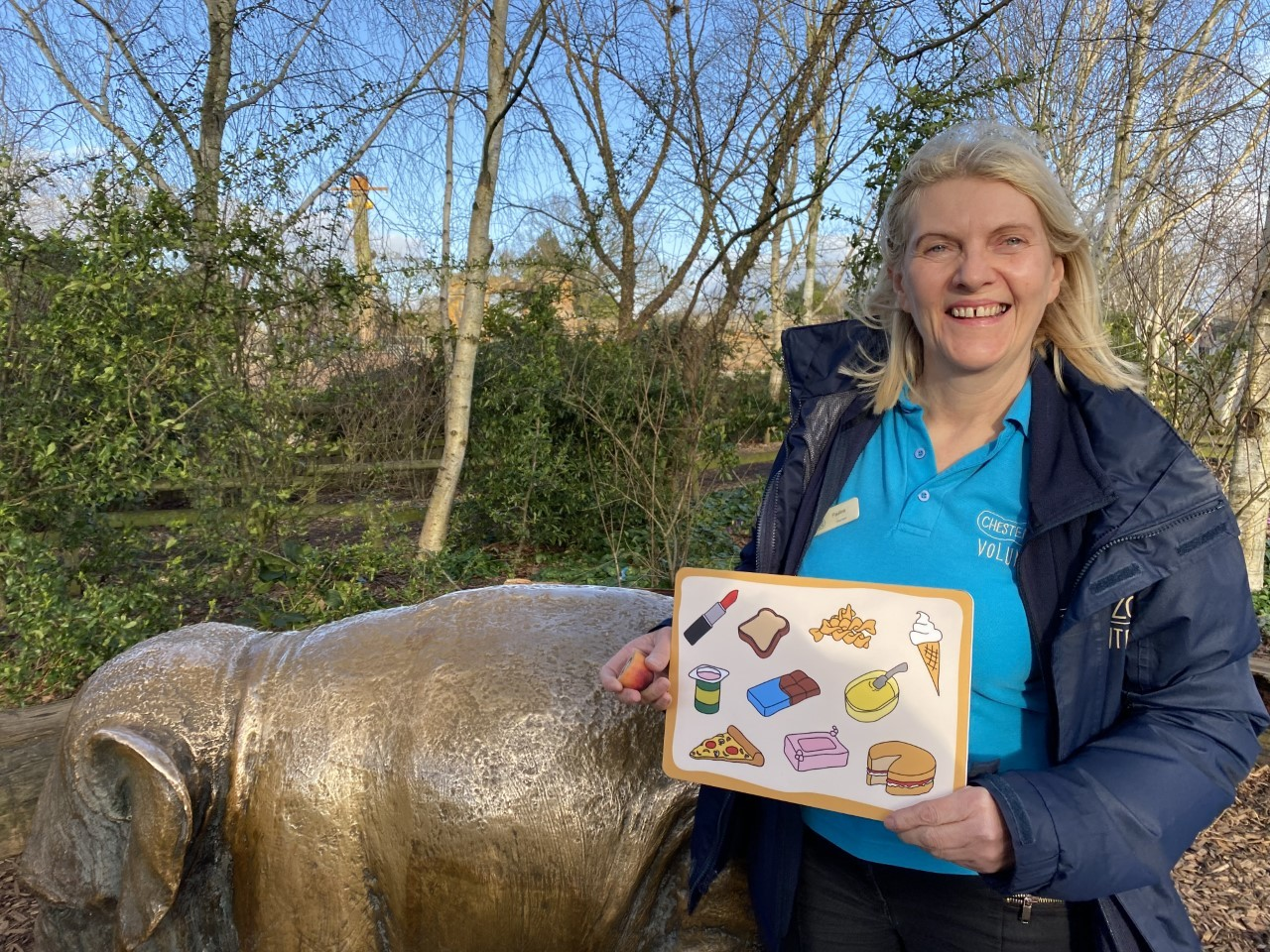 Chester Zoo volunteer Pauline helping to spread word about importance of sustainable palm oil