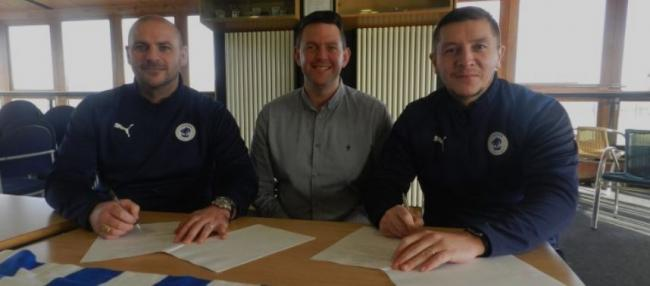 Chester bosses Bernard Morley, left and Anthony Johnson, right, with CFU chairman Andy Morris.