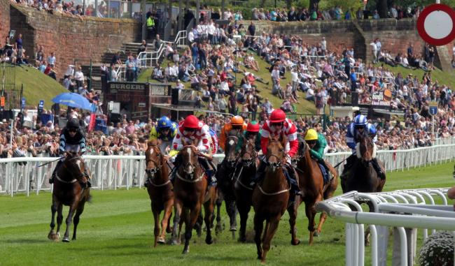 Chester Racecourse (pictured during racing action in 2019) will host three 'behind closed doors' fixtures in August.