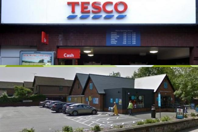 Tesco and Co-op stores in Chester.