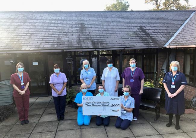 The Hospie of the Good Shepherd team with the £3,000 Essar cheque.