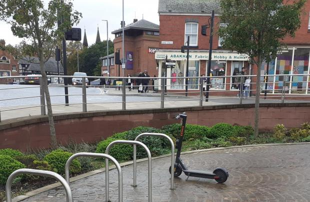 Chester and District Standard: An e-scooter near the bus interchange.