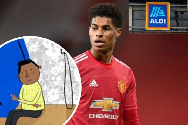 Chester and District Standard: Marcus Rashford has teamed up with Aldo to help tackle child poverty. (PA/Aldi/Canva)