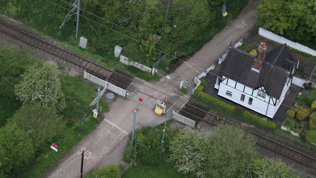 Aerial view Barthomley level crossing.