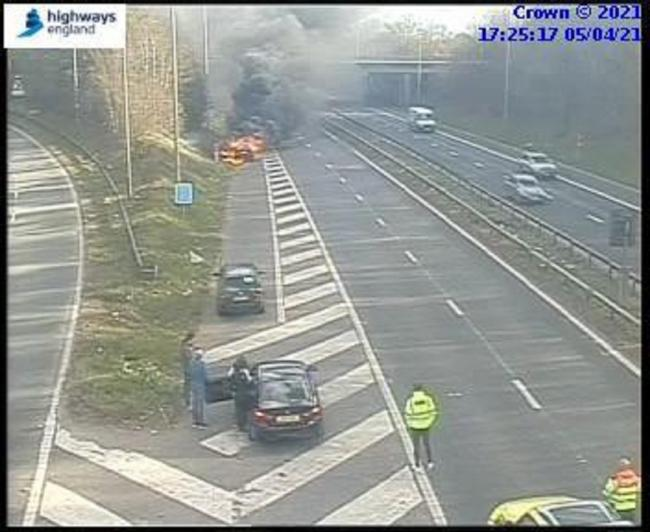 The car fire on the M53 motorway. Picture: Highways England.