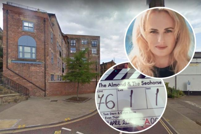 Starting filming The Almond and the Seahorse in Wrexham's Tuttle Street (Image: Google) Inset images: Rebel Wilson/Twitter and Celyn Jones/Instagram