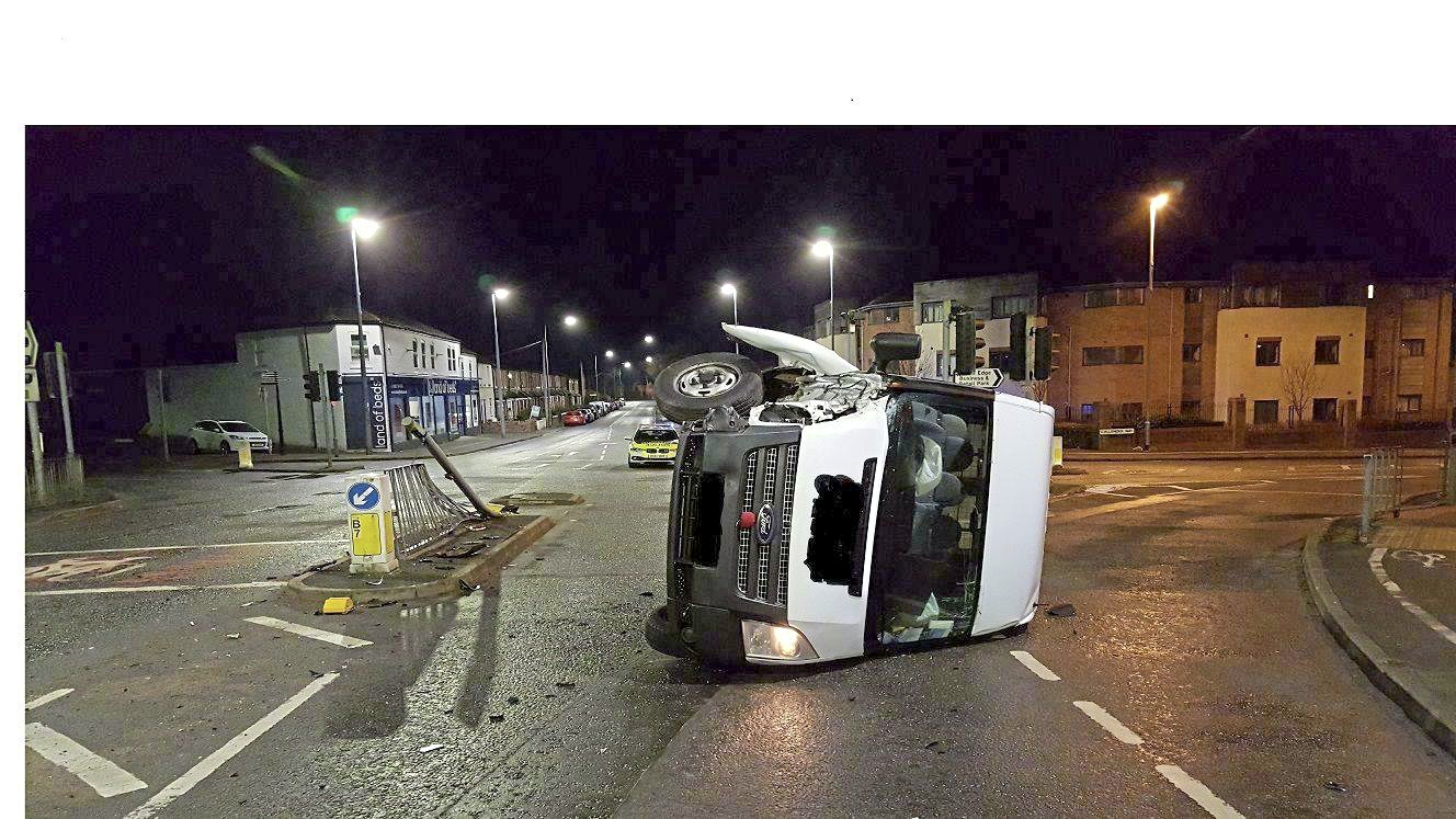 This minibus collided with a traffic light on Chester Road, Helsby