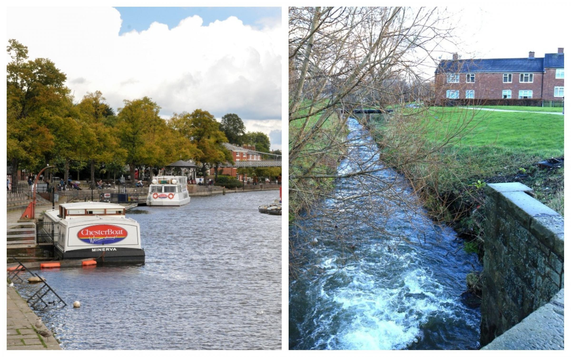 The River Dee in Chester and the Gwenfro in Wrexham.