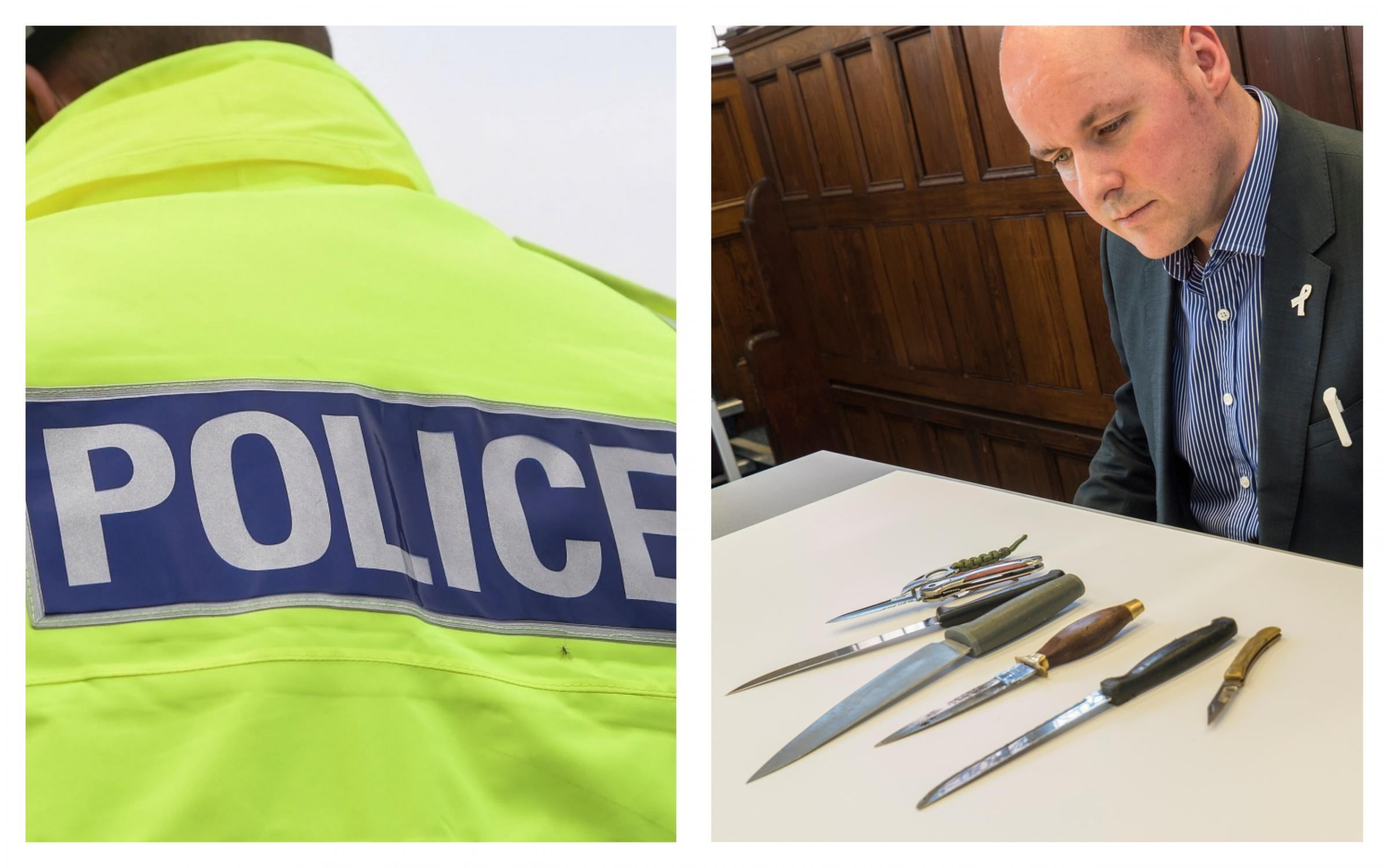 Cheshire PCC, David Keane, with some of the dangerous weapons handed into police.