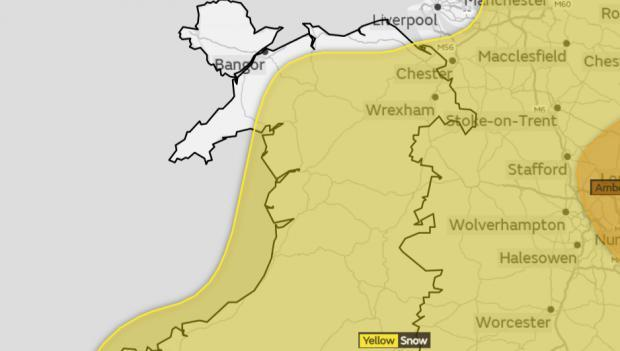 Yellow warning in place for most of Wales and many parts of England. Image: Met Office