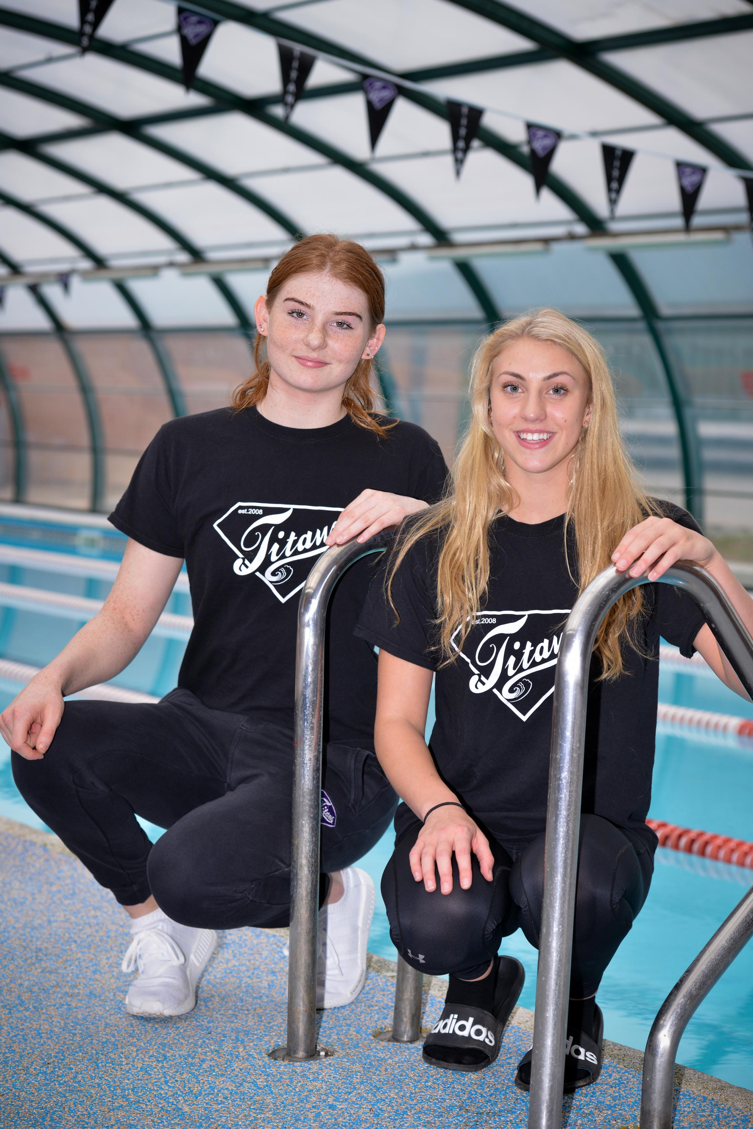 Ellesmere Titans and Team Scotland swimmers Freya Anderson and Cassie Wild (right)