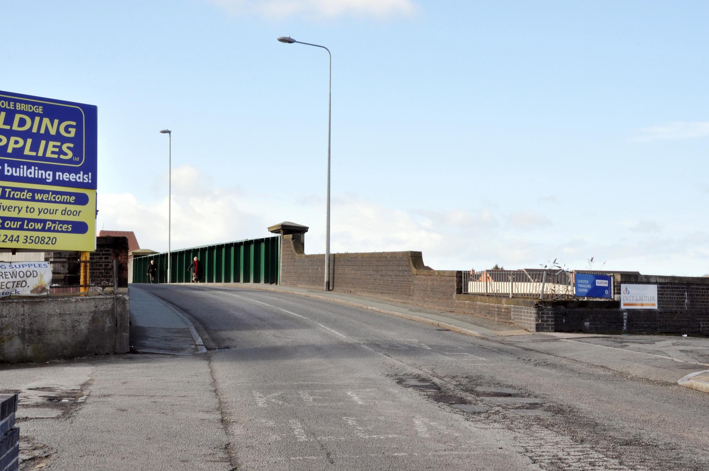 The railway bridge on Hoole Road.