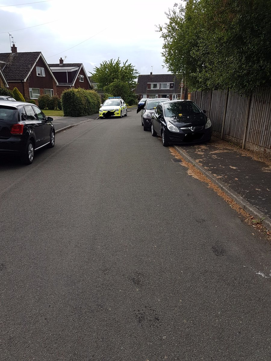 Irresponsible drivers have parked across pavements in Upton. Photo by Cheshire Police.