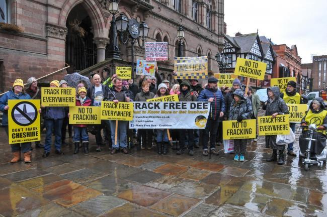 Anti-fracking campaigners protesting against IGas's plans to test a well in Ellesmere Port in January