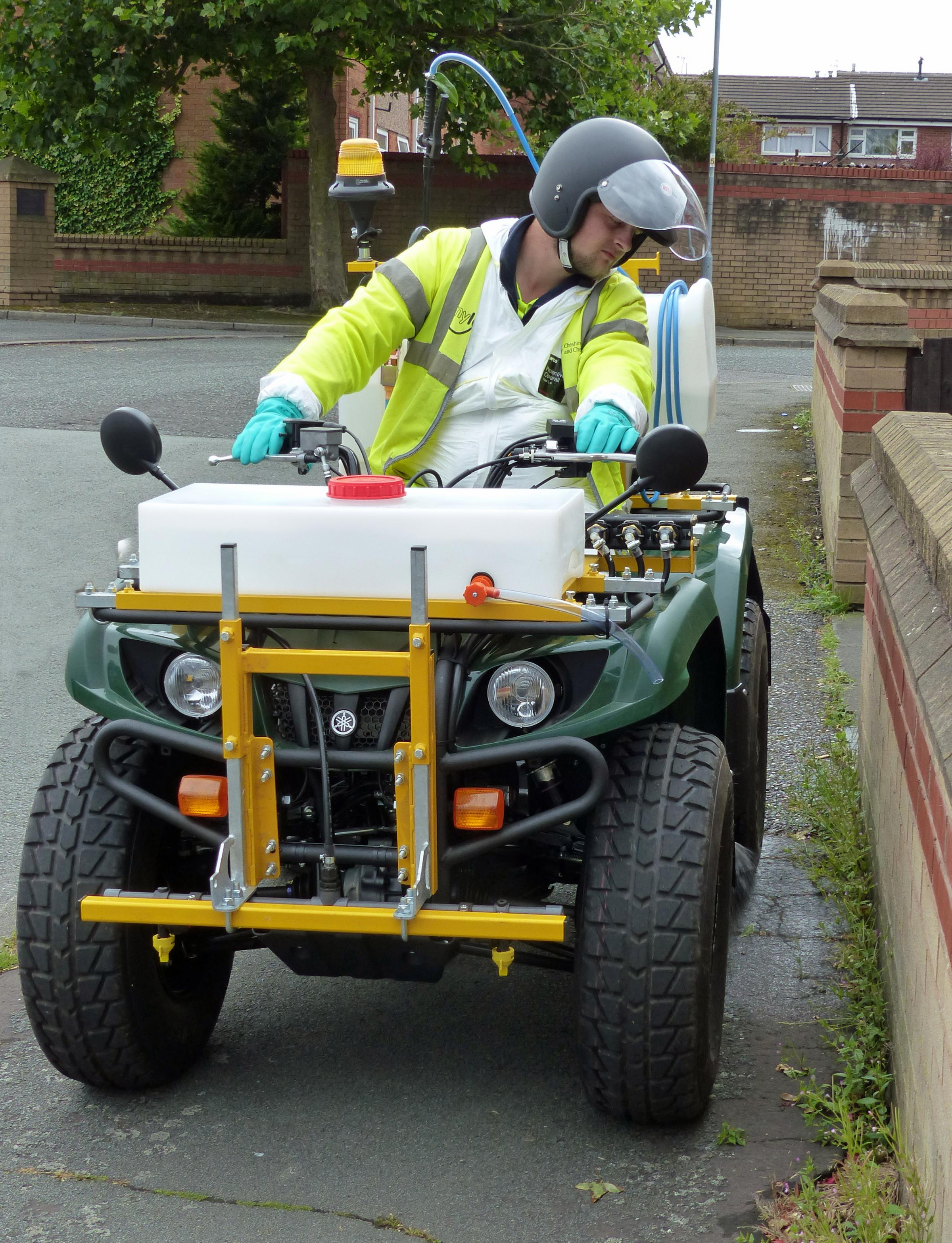 A council quad bike used for weed-spraying.