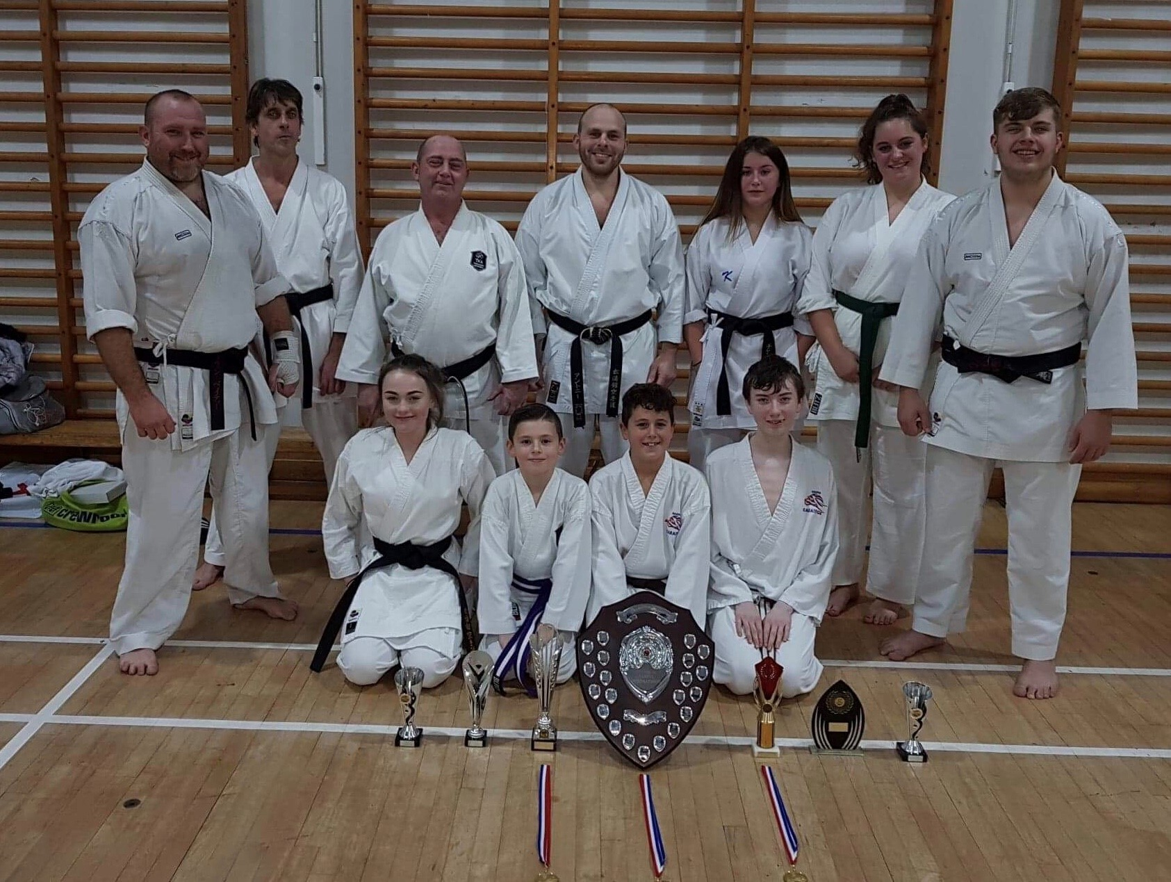 Success at the event was achieved by: back row (from left) Kev Beatty, Neil Richards, Warren Beatty, Antony Pendlebury, Alex Price, Jade Ward and Mark Simpson. Bottom row (left to right) Georgia Beatty, Charlie Standing, Luca Jones and Ryan Owen. Not pict