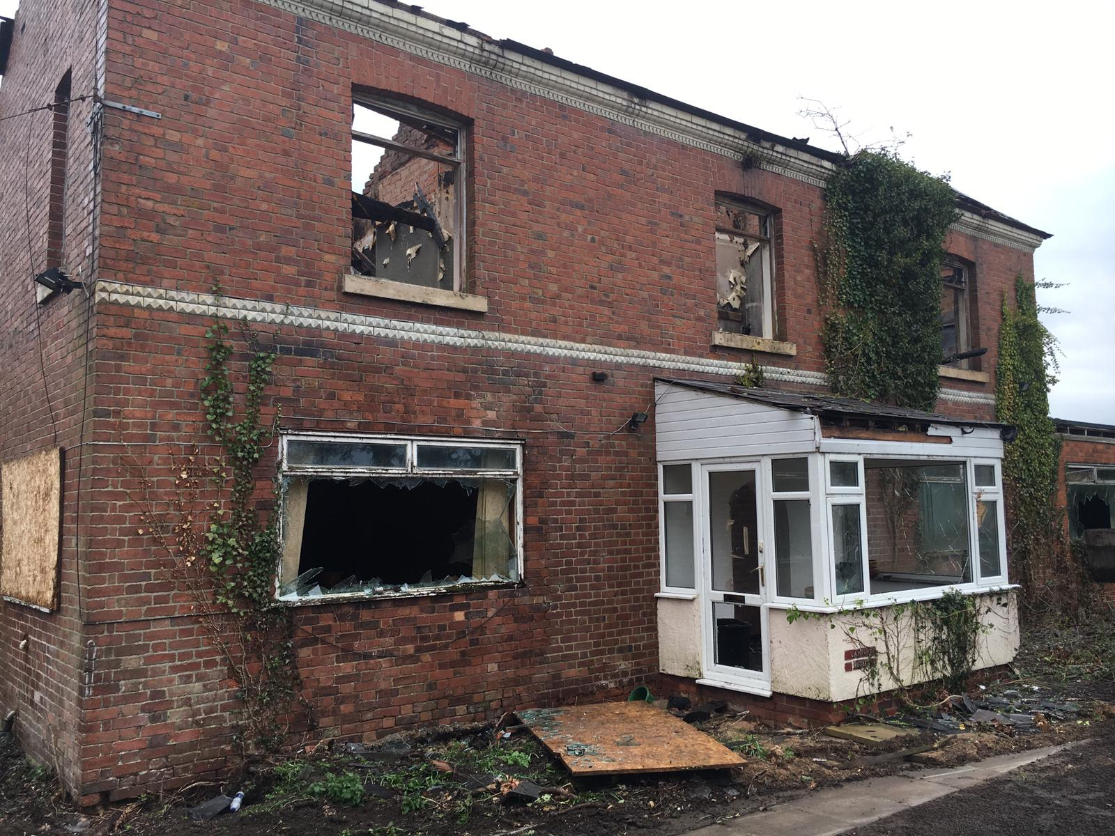 The damage at derelict building on Gamford Lane, Rossett. Picture: Scott Murphy