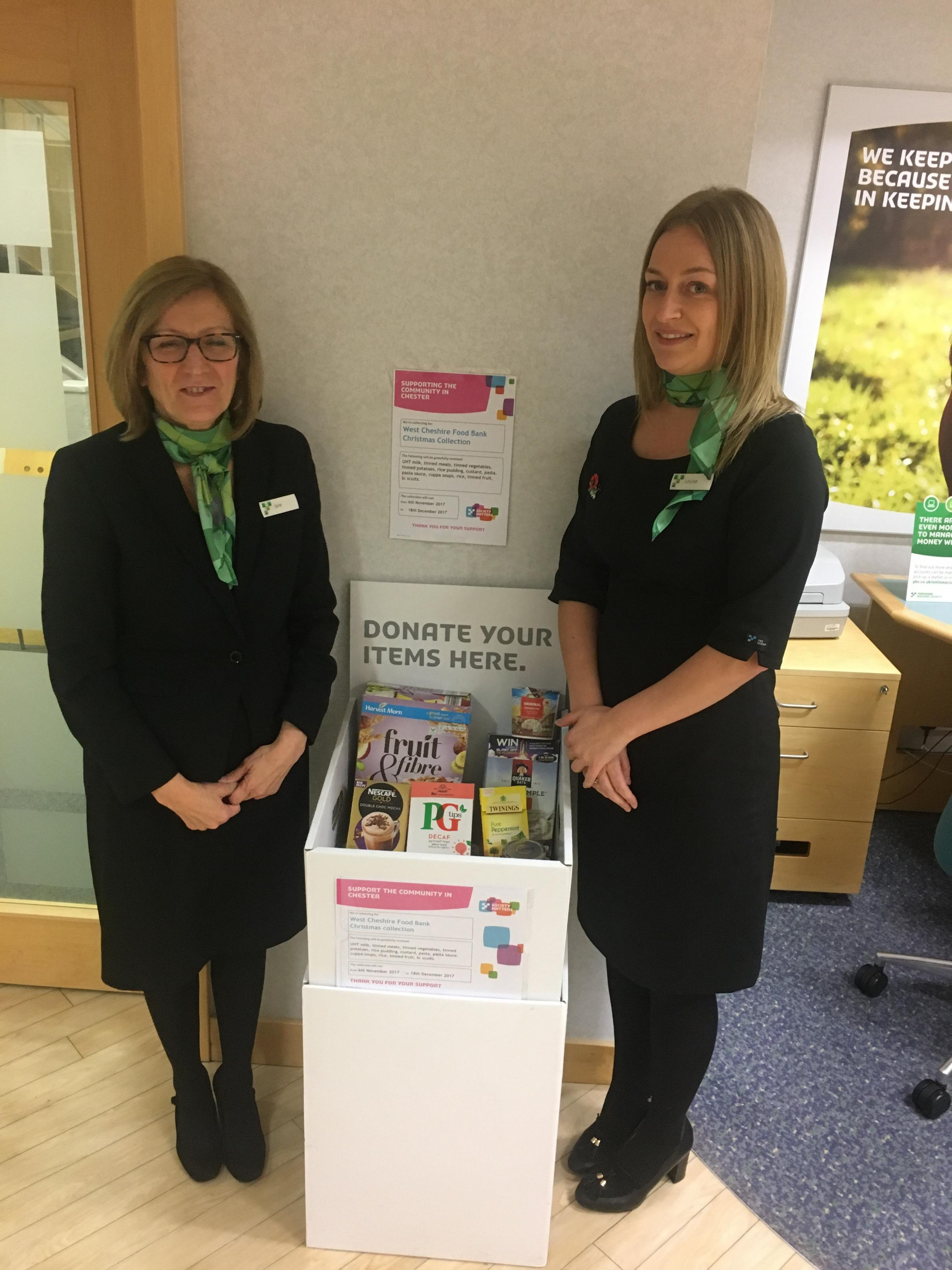 Yorkshire Building Society Chester branch becomes donation station for West Cheshire Foodbank