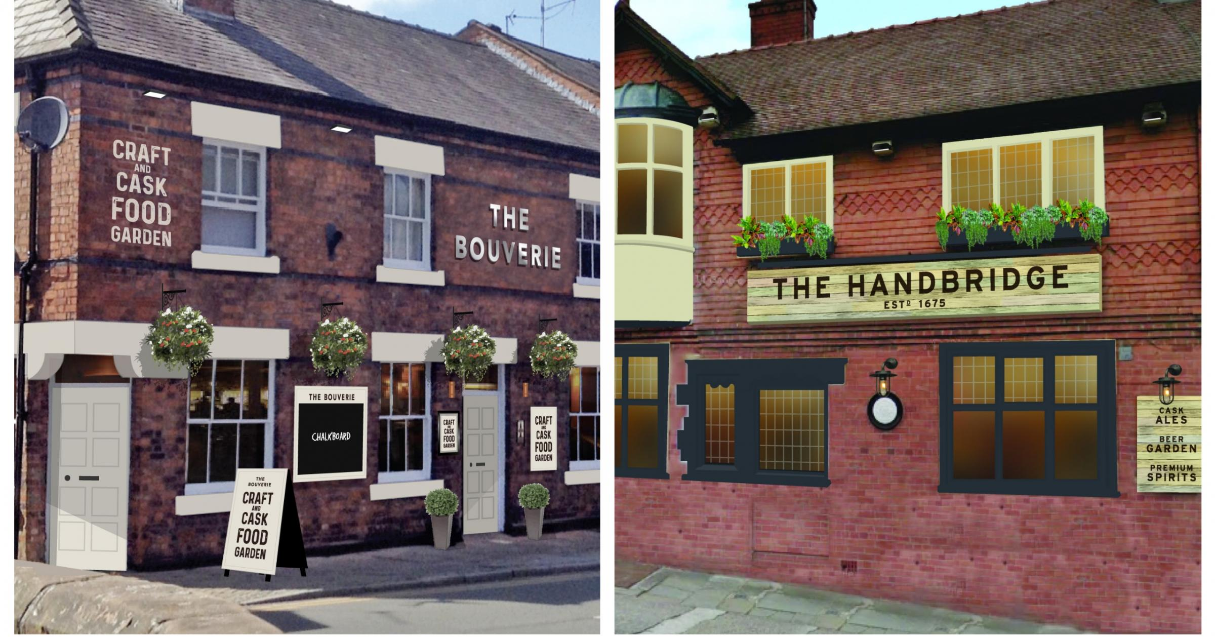 How the exteriors of the two pubs will look.