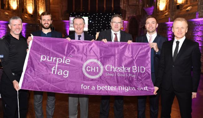 Representatives of Chester Purple Flag team: Sgt Alex Jackson,Tom Hughes from Pubwatch, Mike Meynell from Street Pastors, Peter Willitt from CWaC licensing, Paul Hickson from Localities at CWaC and Nick White, city centre manager CH1ChesterBID.