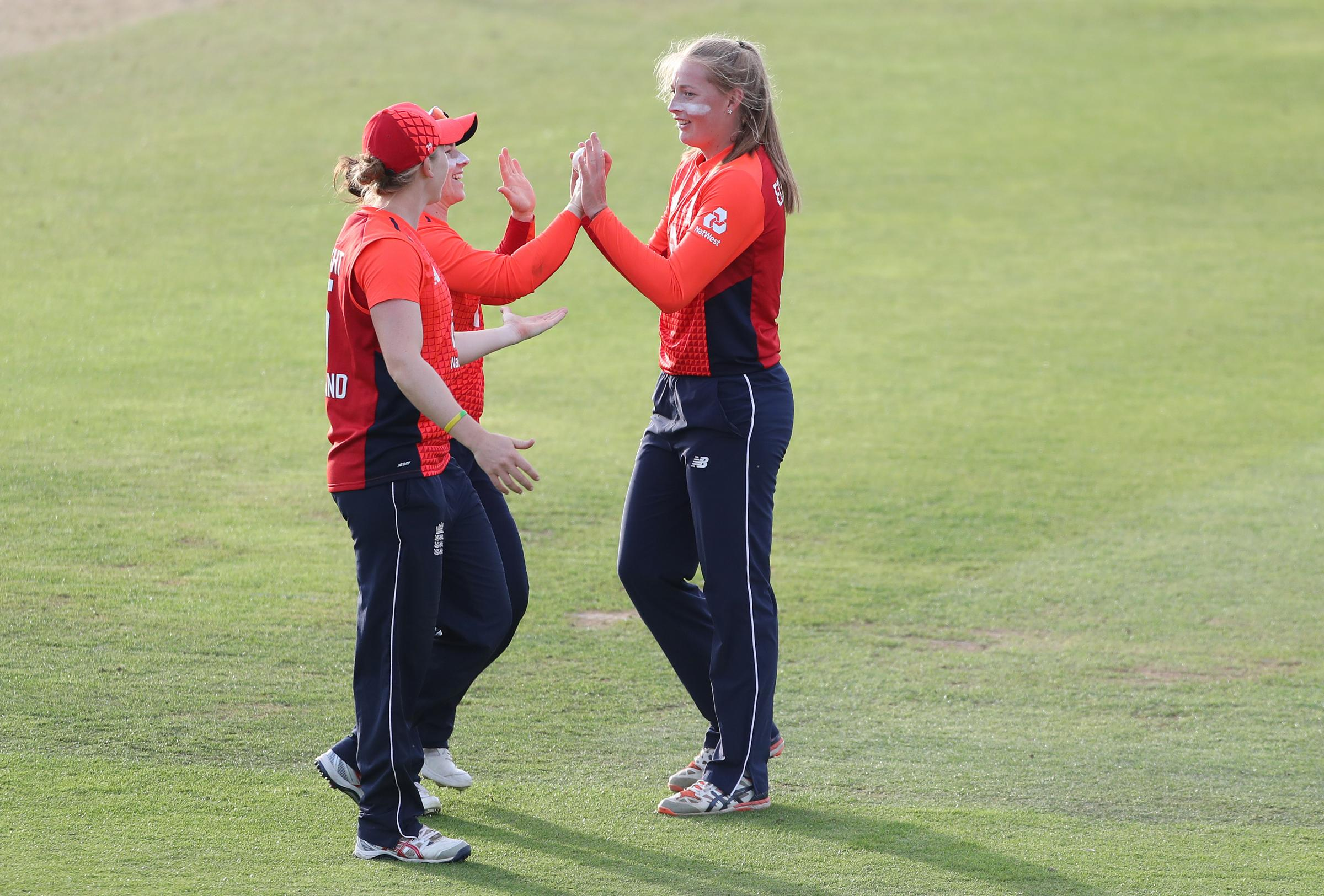 England's Sophie Ecclestone celebrates taking the wicket of New Zealand's Anna Peterson during the T20 Tri Series match at the County Ground..
