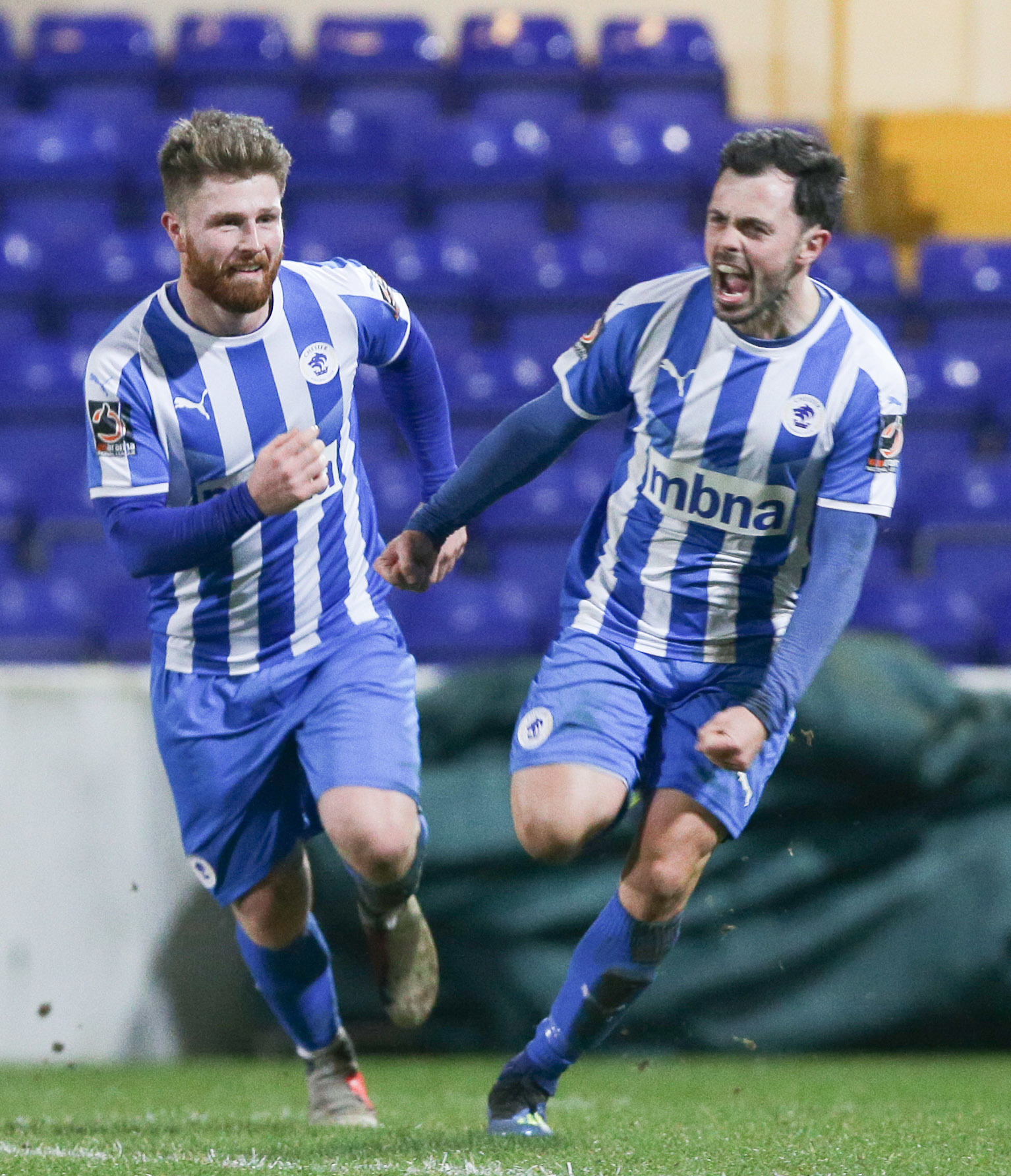 Craig Mahon scores Chester's opener against Blyth Spartans