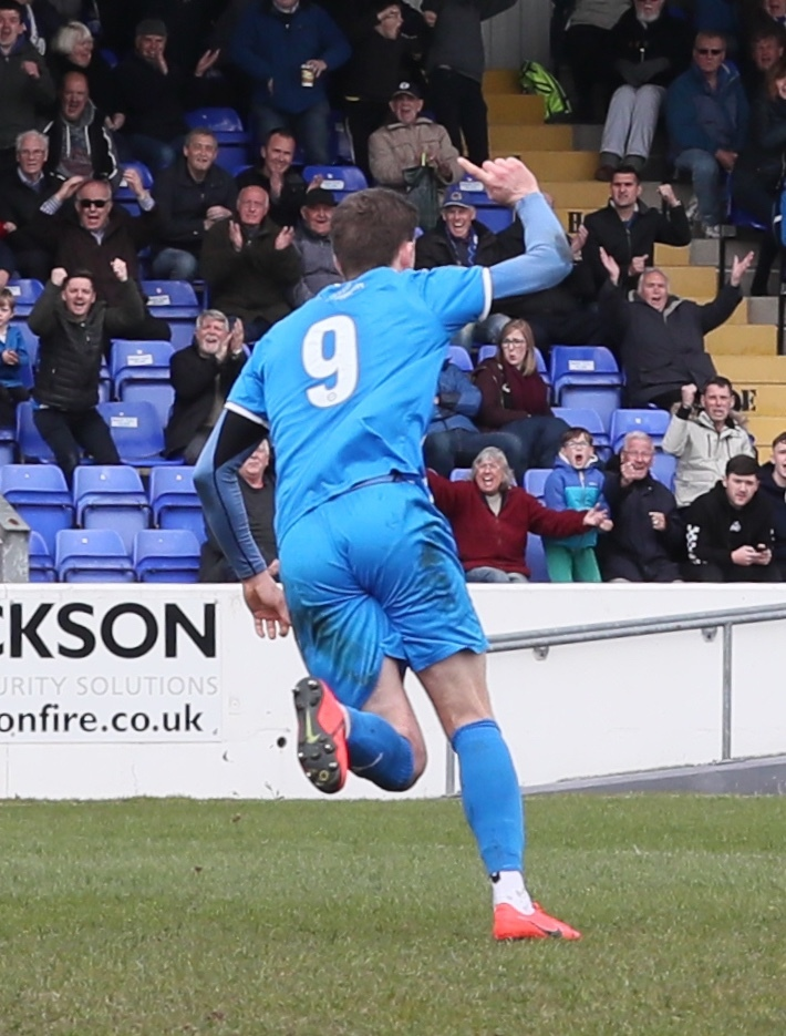George Waring celebrates Chester's equaliser