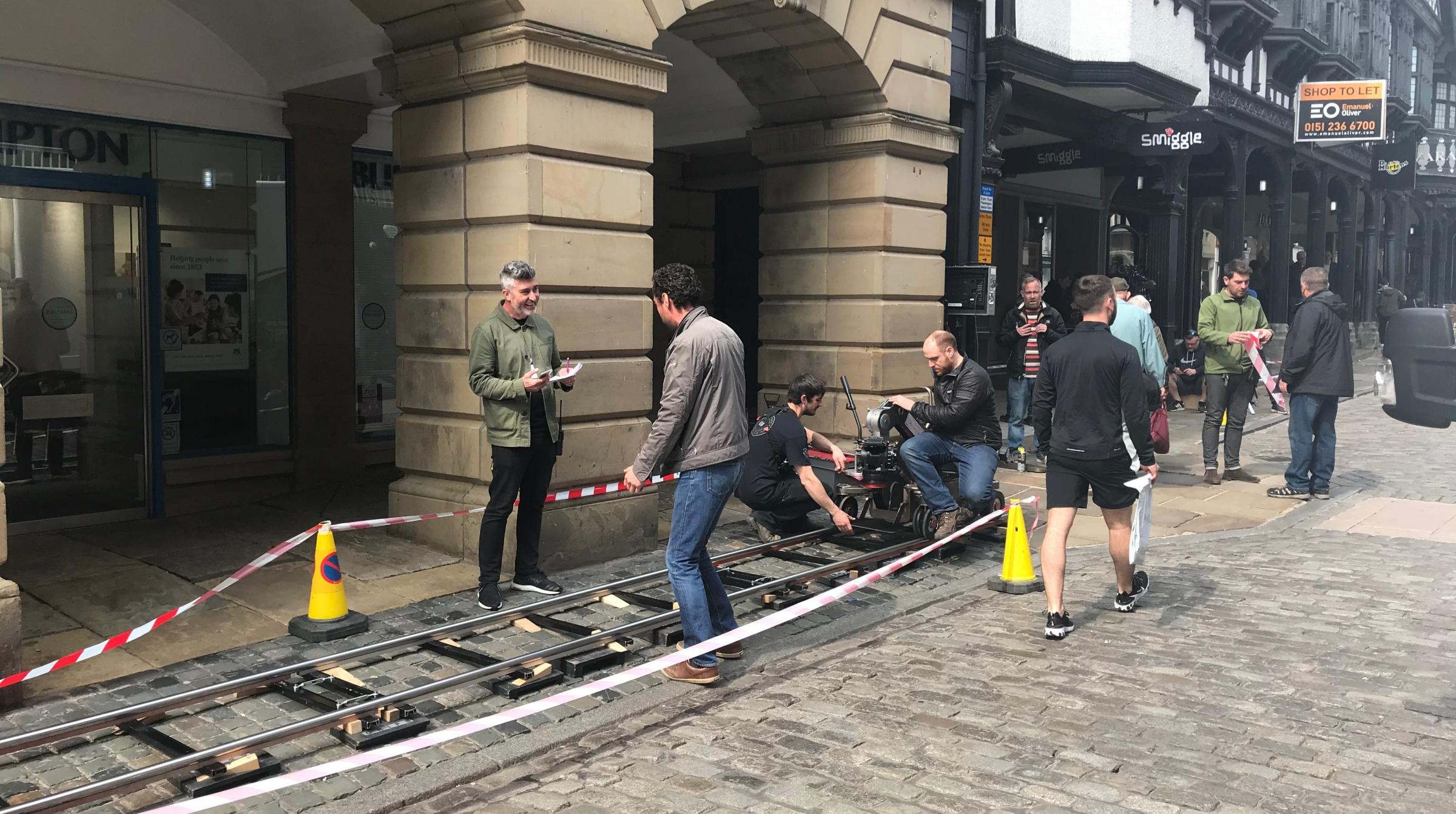A film crew is making a commercial for Iceland on Northgate Street in Chester.