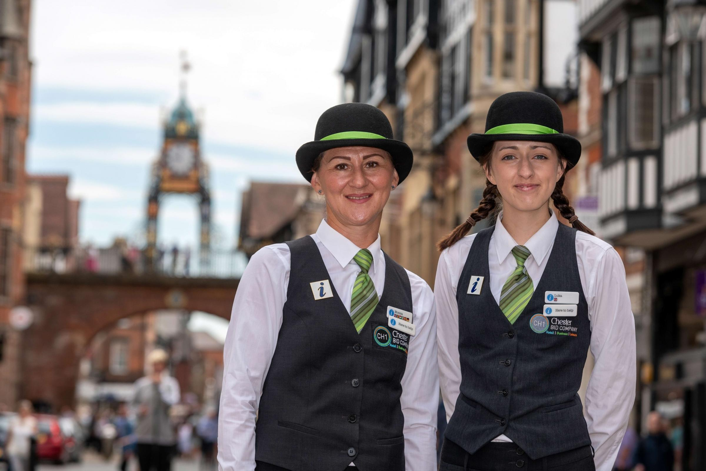 Monica Roman and Luka Jake Morrell, CH1ChesterBID's Welcome Ambassadors are celebrating welcoming 100,000 visitors to Chester.